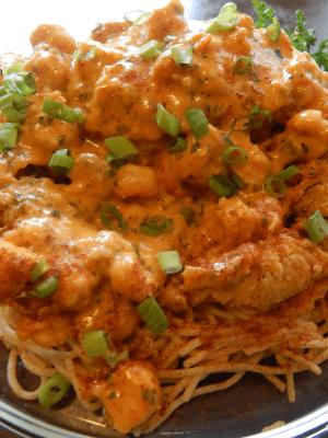 Louisiana Crawfish & Soft Shell Crab over Angel Hair Pasta