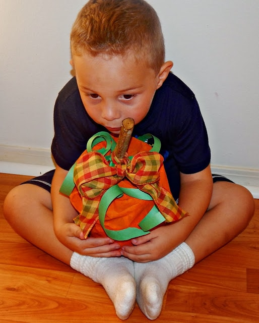 Paper Bag Pumpkin with Ribbon