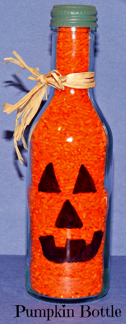 Halloween Pumpkin Wine Bottle Craft