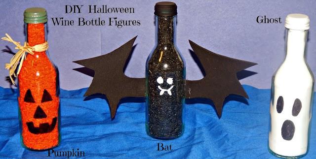 Recycle Halloween Wine Bottle ,Pumpkin Wine Bottle, Bat Wine Bottle , Ghost Wine Bottle