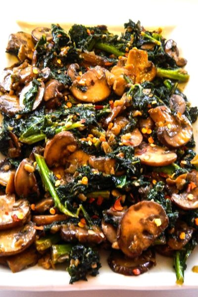 Smothered Kale with Baby Bella Mushrooms