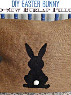 No-Sew Burlap Easter Bunny Pillow
