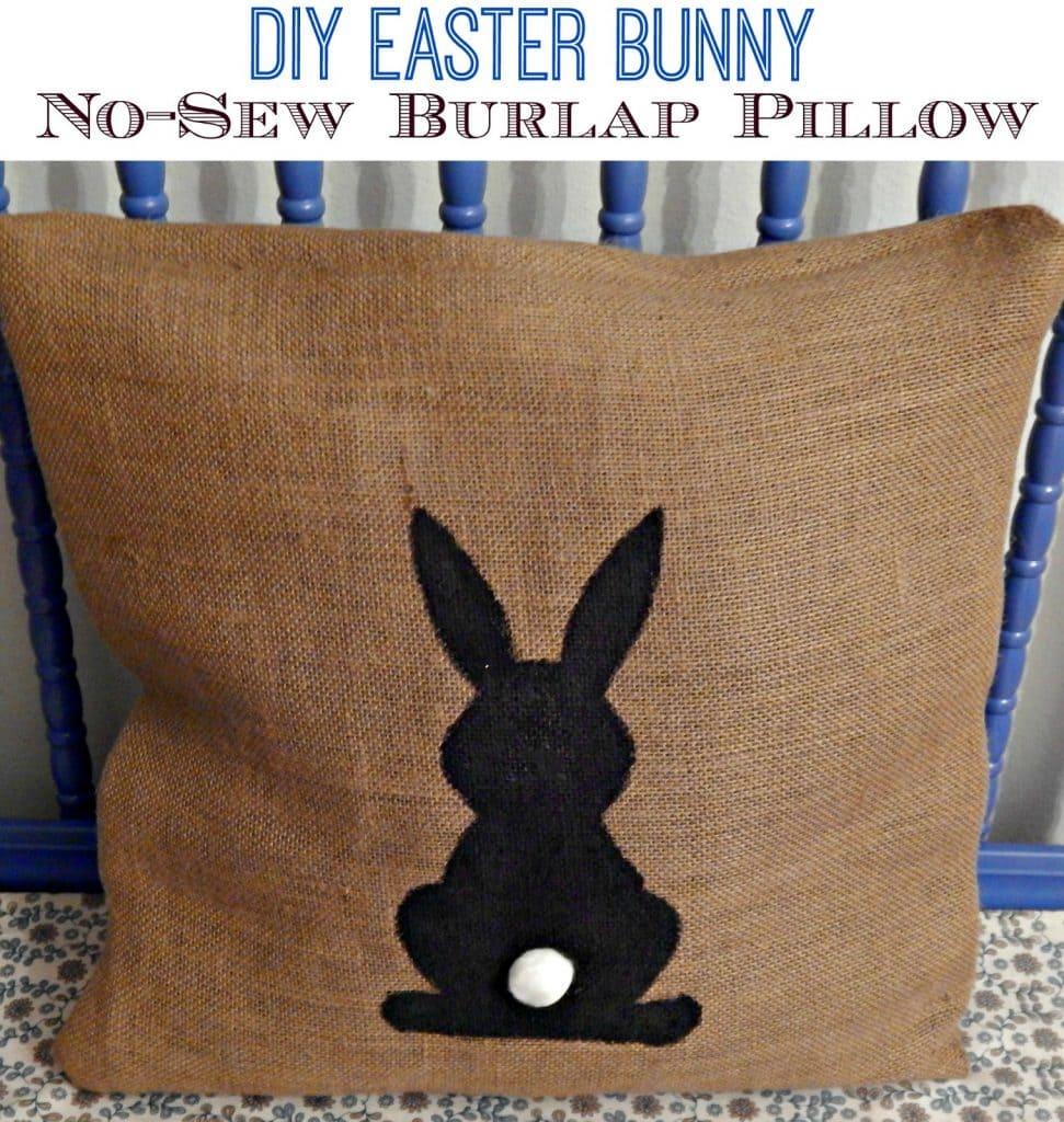 No-Sew , No-Sew Pillow, Burlap, Burlap Pillow, No-Sew Burlap Bunny Pillow, Bunny Pillow