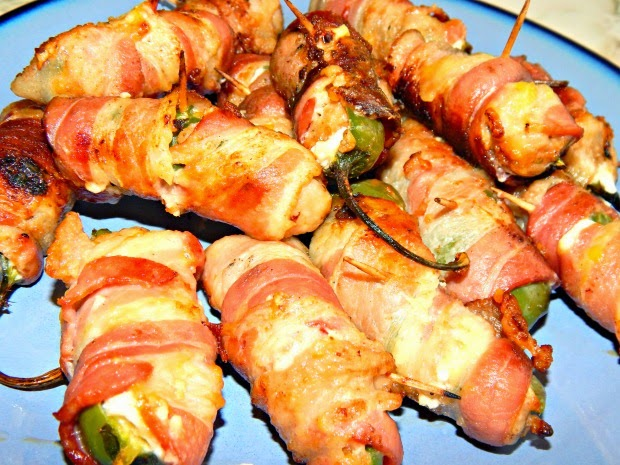 Grilled Bacon-Wrapped Jalapeno Peppers with Sausage and Cream Cheese
