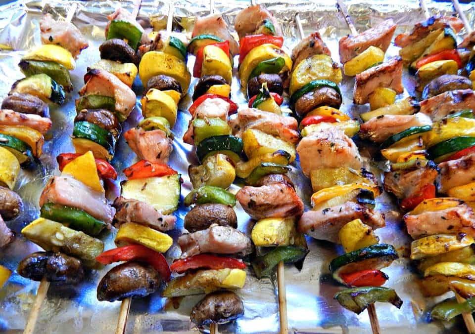 Hormel Lemon Garlic Pork filet, Grilling Ideas, Kabob recipe, Pork Kabobs, Vegetable and Pork