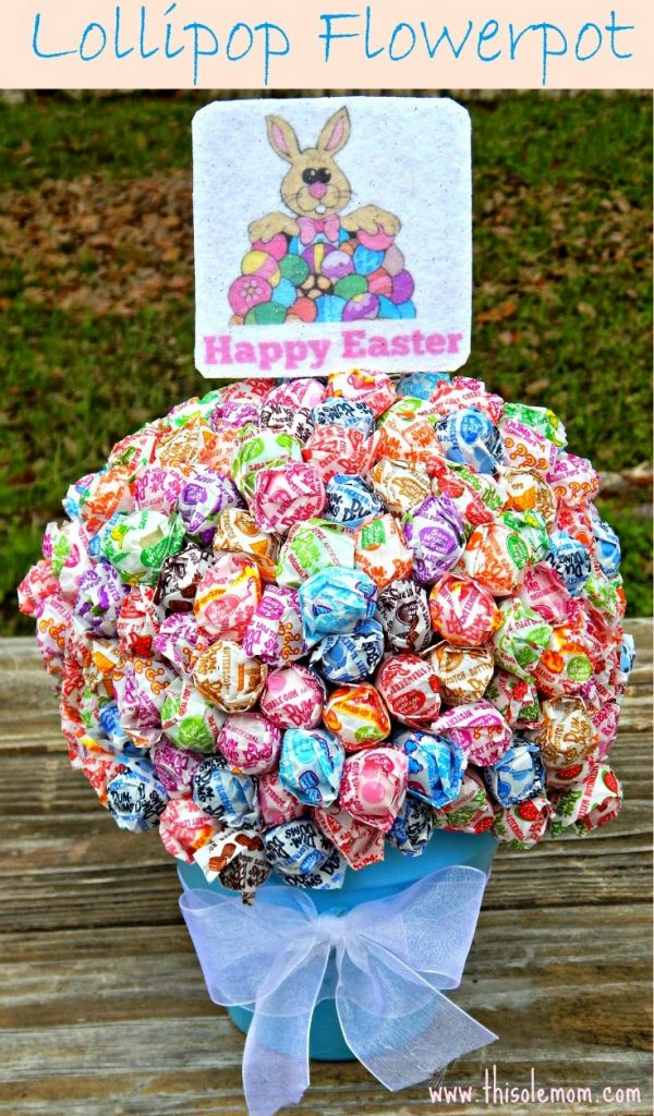 Lollipop Flowerpot, Dum Dums Flower Pot Craft, Easter Centerpiece, Lollipop Easter Gift