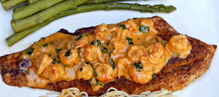 Pan Fried Speckled Trout with Creamy Crawfish Sauce