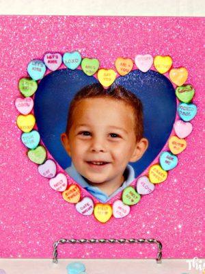 Valentine's Day Candy Heart Glitter Frame