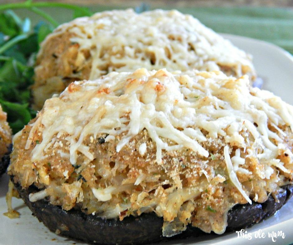 Parmesan Cheese on top of Crab Stuffed Mushrooms
