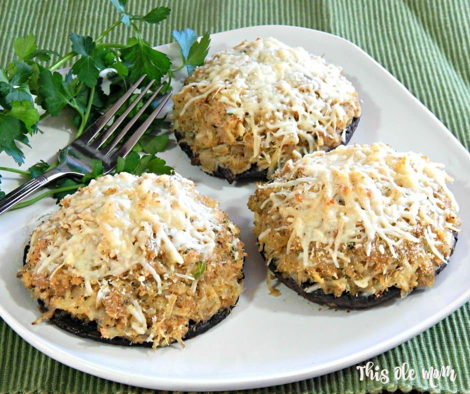 Portobello Mushrooms Stuffed with Crabmeat