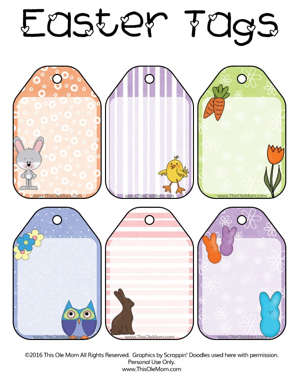 Free Easter Printable Gift Tags. Adorable and free.