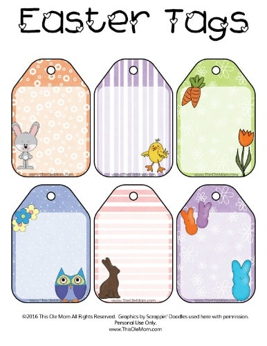 Free Printable Luggage Easter Gift Tags