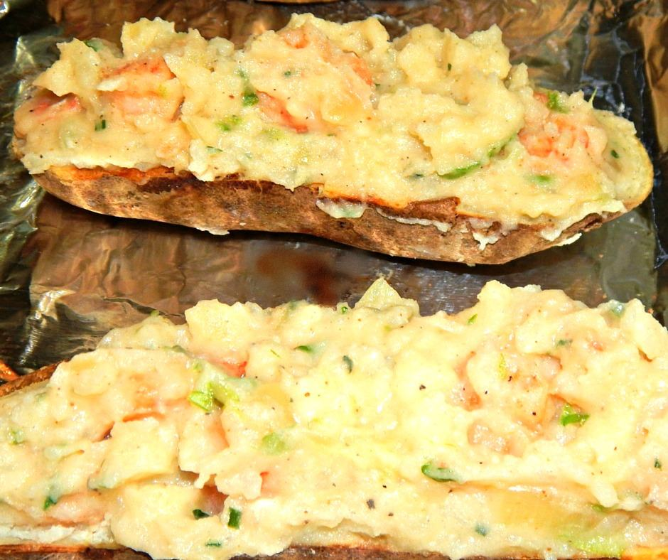 Potatoes Stuffed with Cheese and Shrimp
