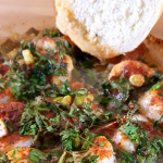 French Bread Dipped in Cajun Shrimp with Bourbon