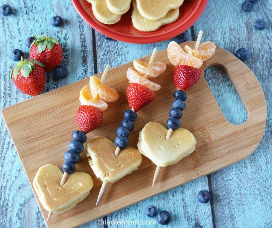 Kids Valentines Day Cupid Arrow Pancake & Fruit Kabobs