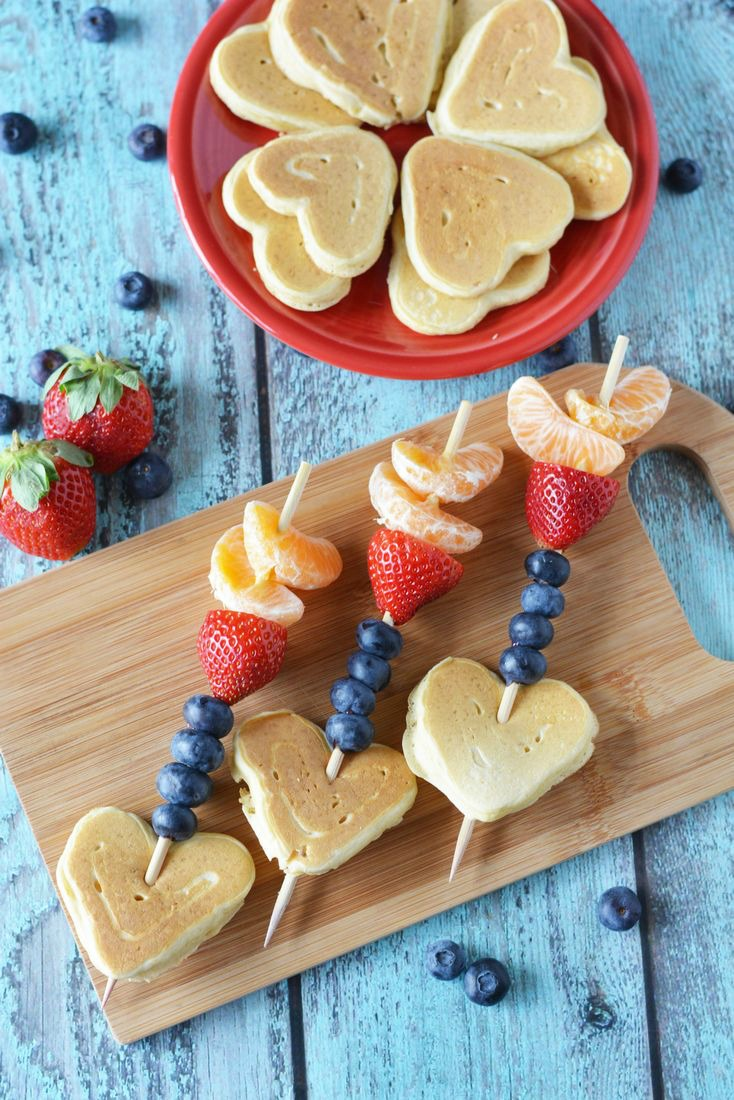 Heart Shaped Pancake Kabobs