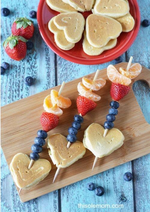 Valentine's Day Cupid Arrow Pancake Kabobs