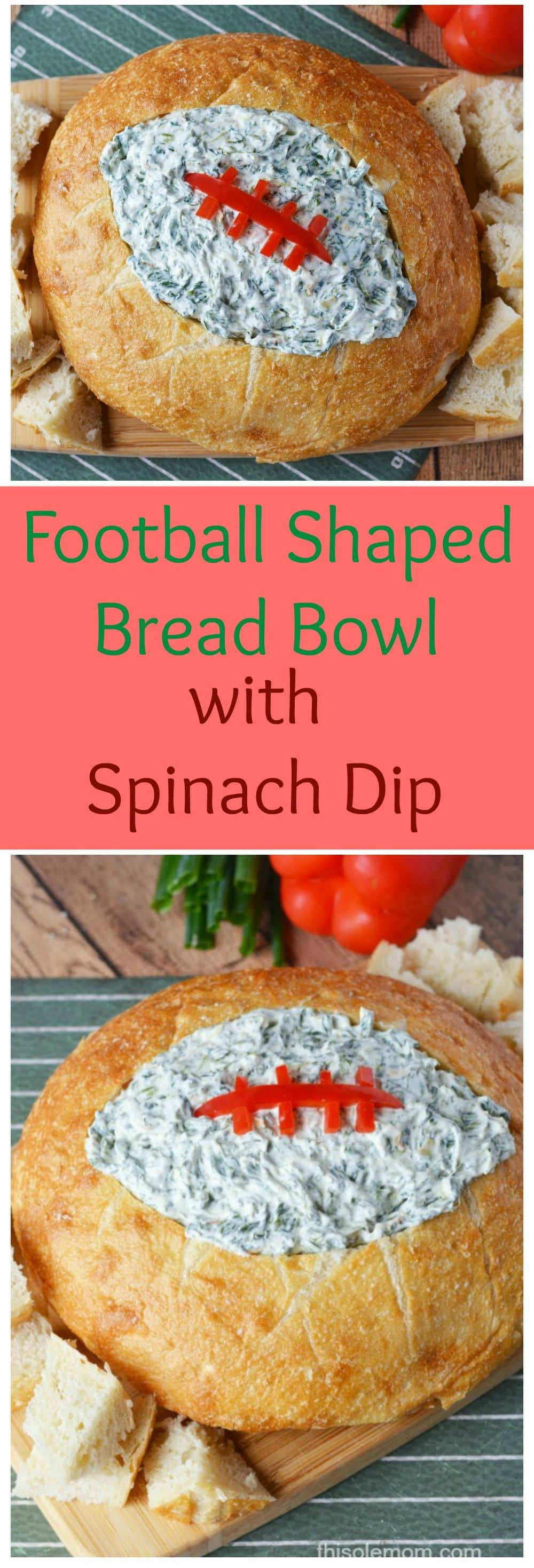 Football Bread Bowl With Spinach Dip