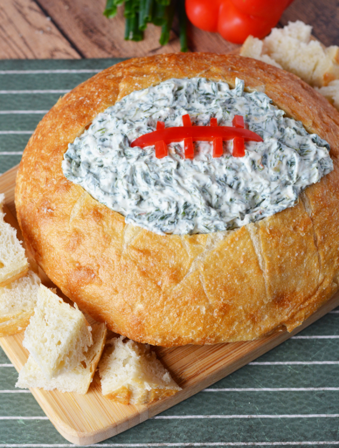 Football Shaped Bread Bowl With Spinach Dip
