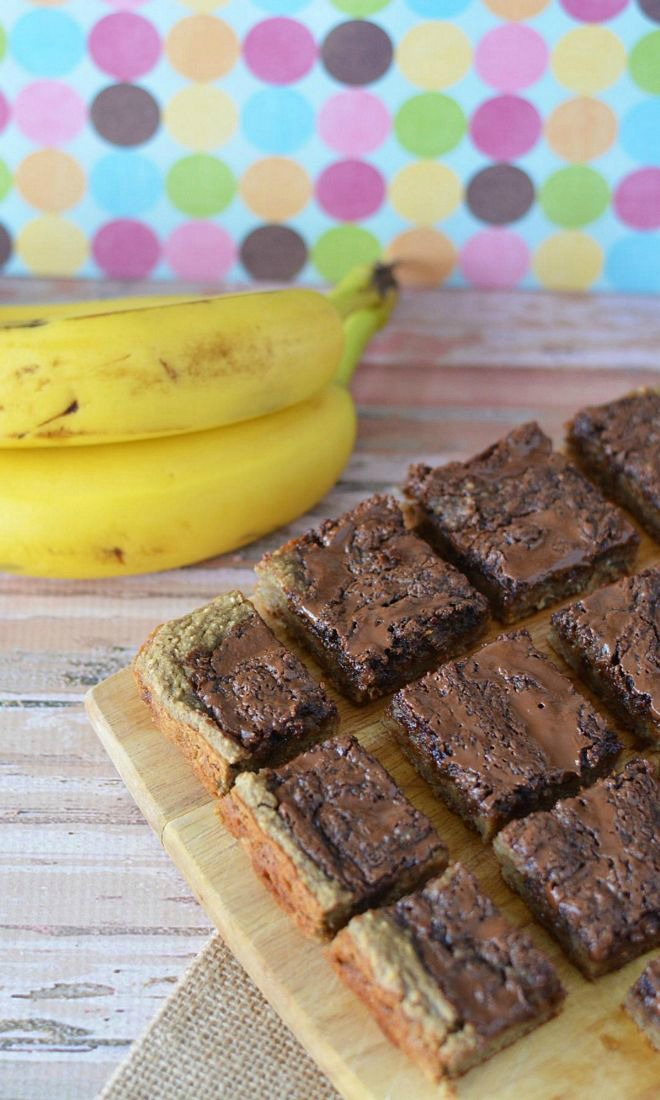 Gluten Free Chocolate Banana Bars cut into squares on cutting board