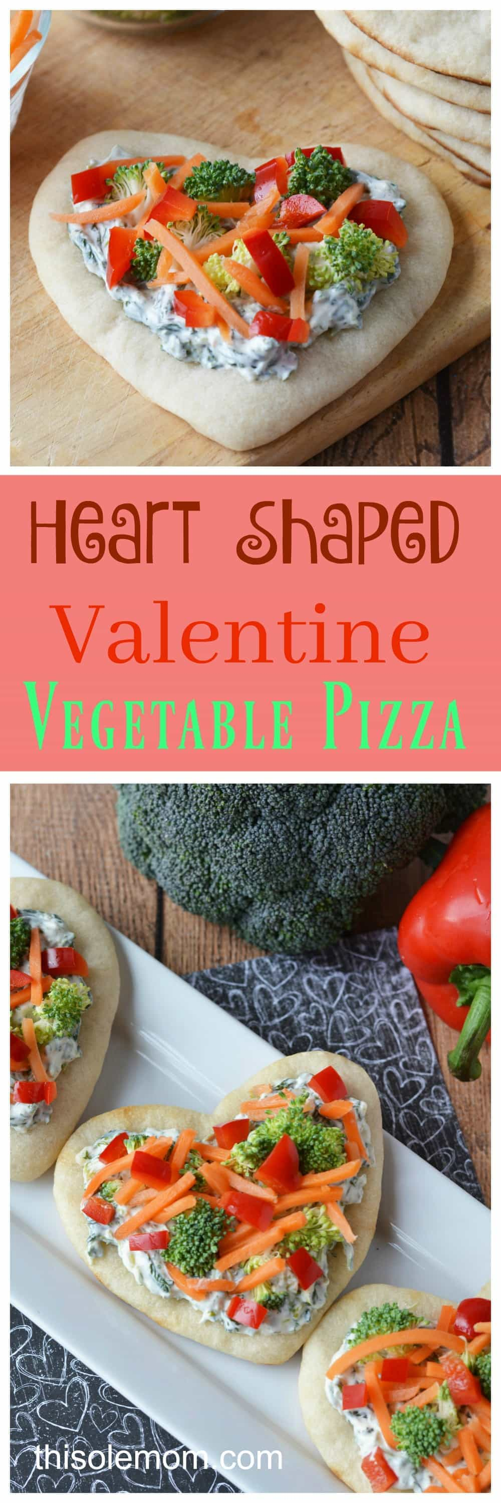 Heart Shaped Valentine's Day Veggie Pizza