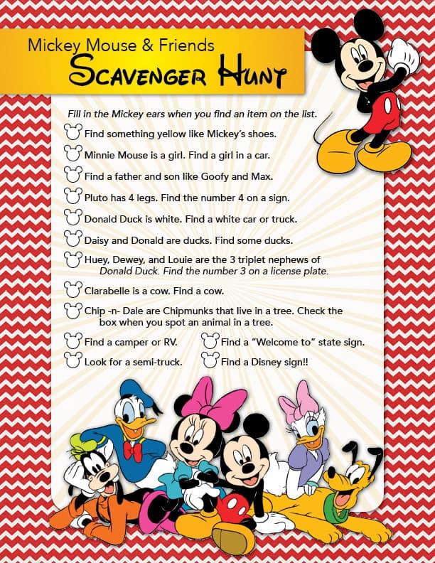 Mickey scavenger Hunt Printable