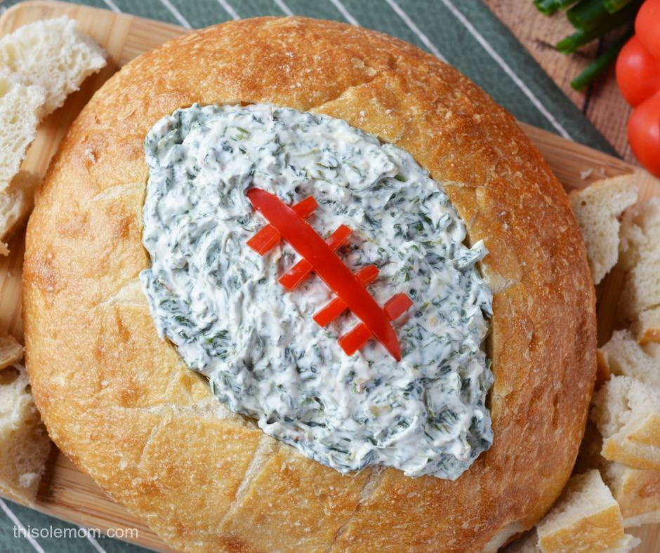 Spinach Dip with Football Shaped Bread Bowl
