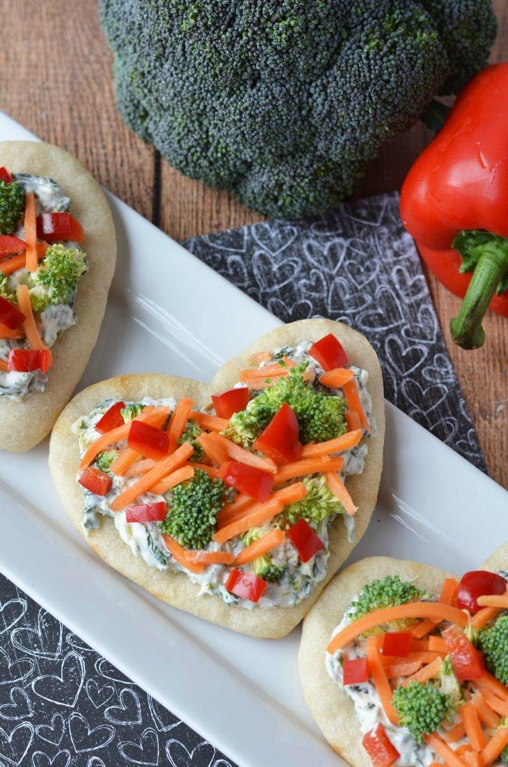Heart Shaped Valentine Vegetable Pizza