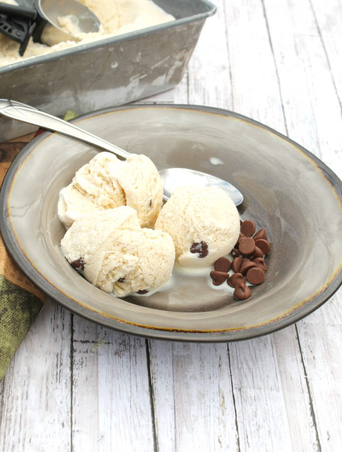 Homemade Coffee Ice Cream with Chocolate Chips