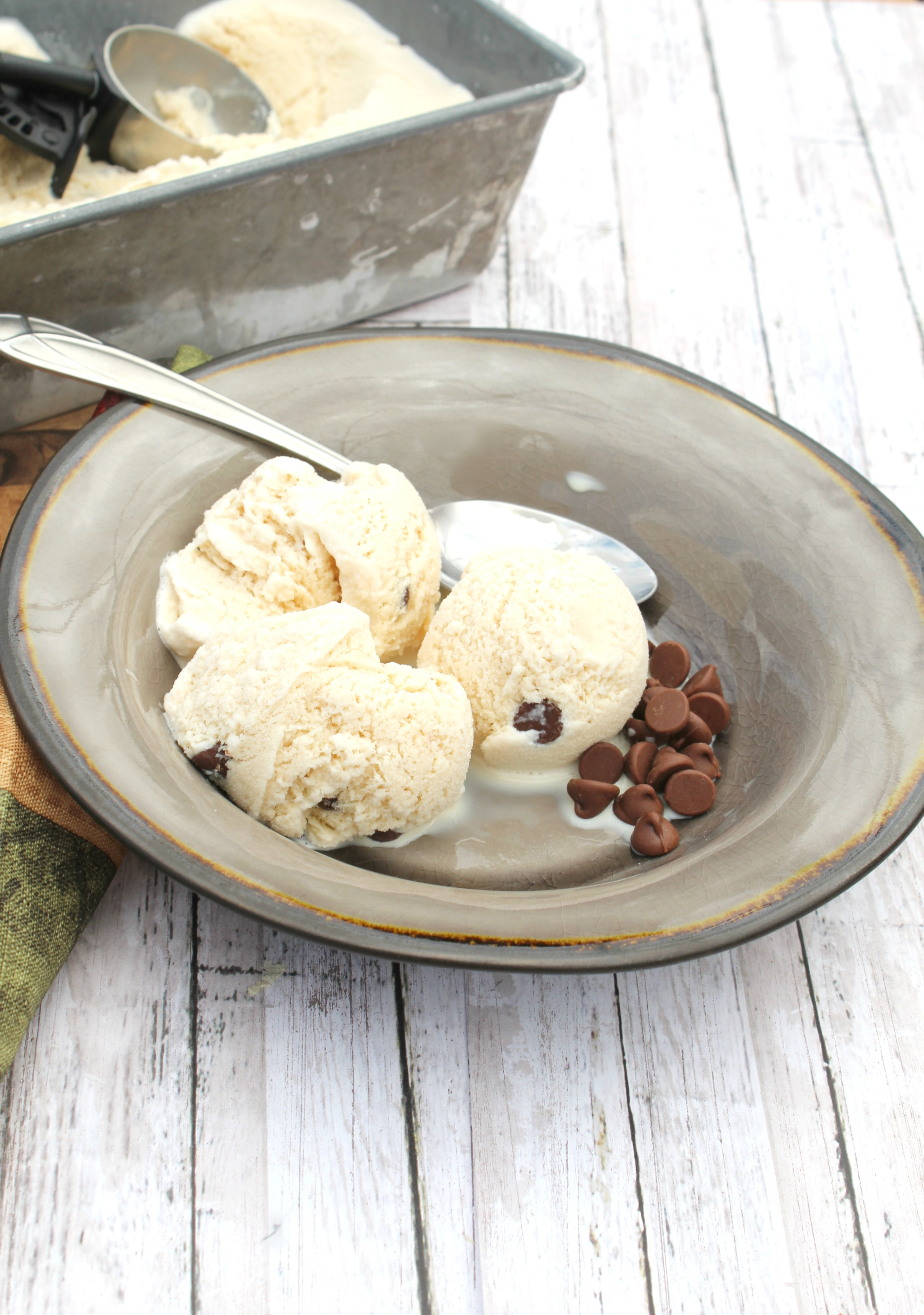 Homemade Coffee Ice Cream with Chocolate Chips
