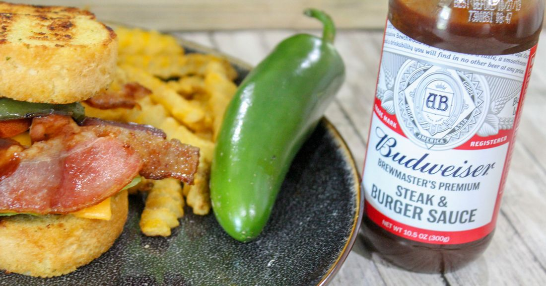 Budweiser Steak & Burger Sauce Grilled Jalapeno Bacon Cheeseburger