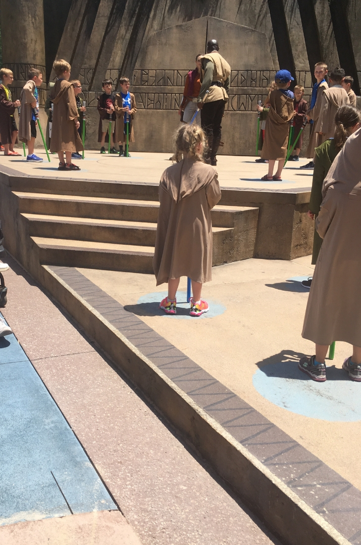 Kids Lining Up for Jedi Training
