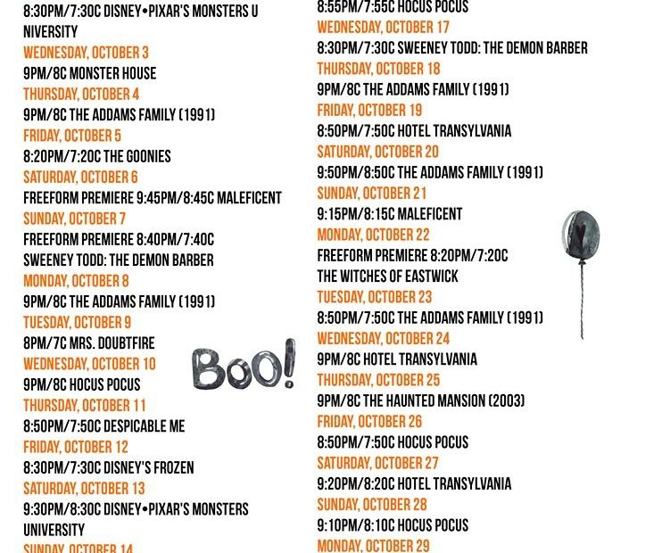 FreeForm 31 Nights Of Halloween Movie Schedule 2018