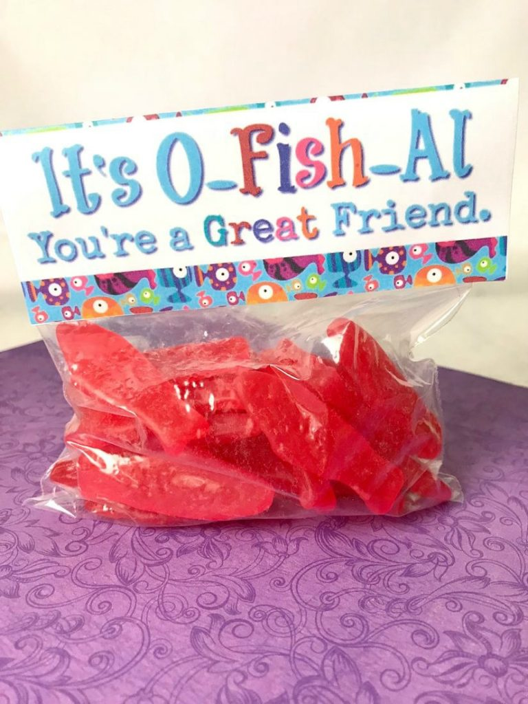 graphic about Goldfish Valentine Printable called Swedish Fish Printable Valentine Toppers - This Ole Mother