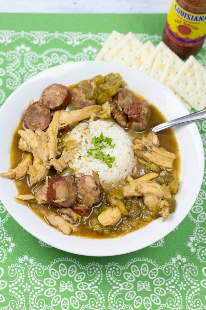 Chicken and Sausage Andouille Gumbo with Okra
