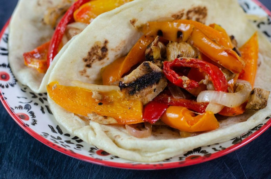 Skillet Chicken Fajitas in Tortillas