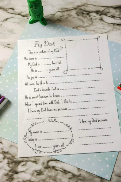 Father's Day Kids Interview Printable