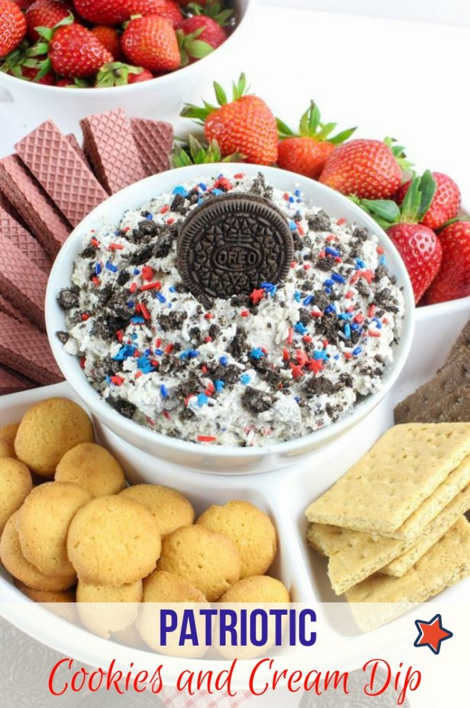 Patriotic Cookies and Cream Dip Dessert