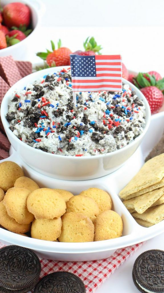 Patriotic Cookies and Cream Dip with Sprinkles