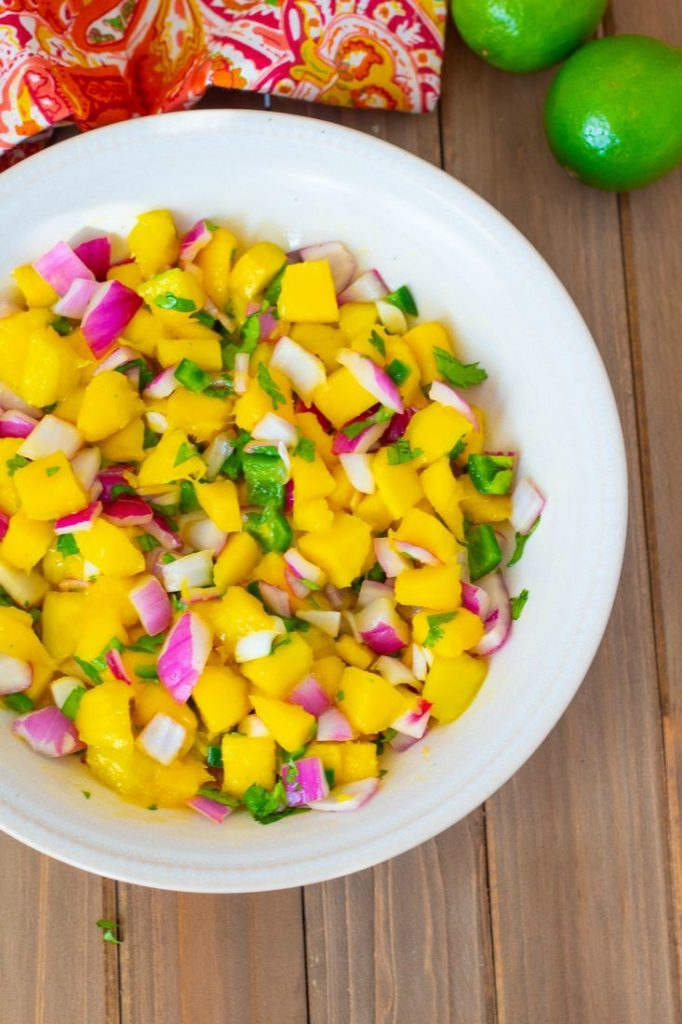 Mango salsa with Jalapeno Peppers