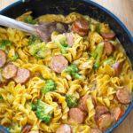Cheesy Broccoli Sausage Pasta Skillet