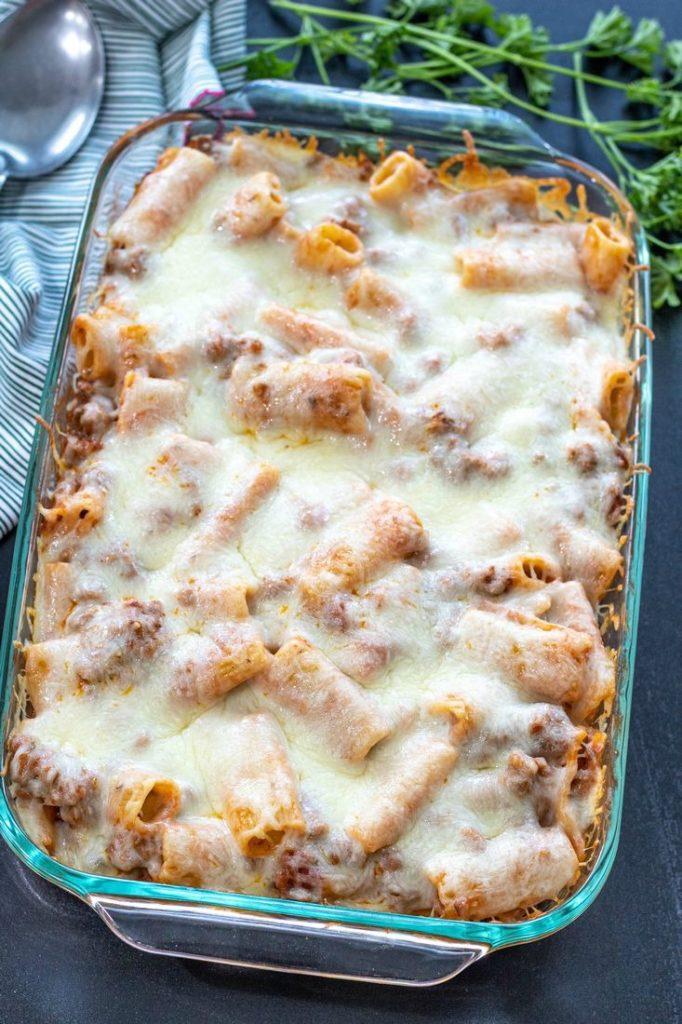 Cheesy Rigatoni Sausage Bake