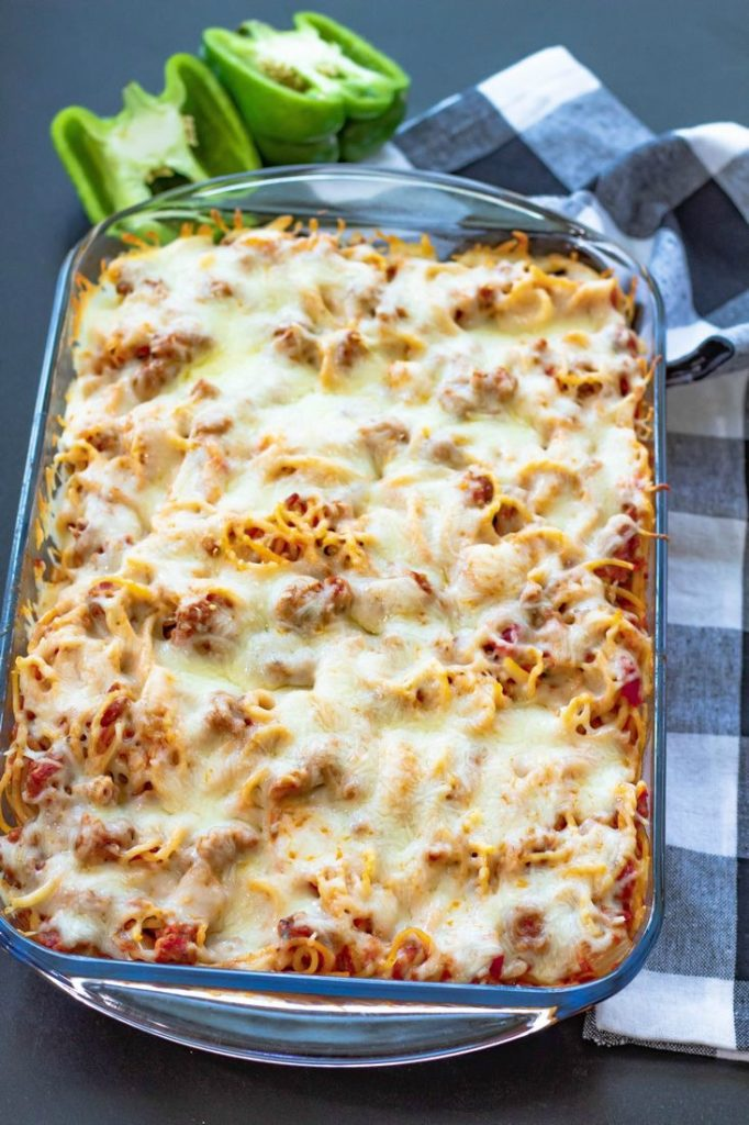 Baked Spaghetti Casserole With Sausage
