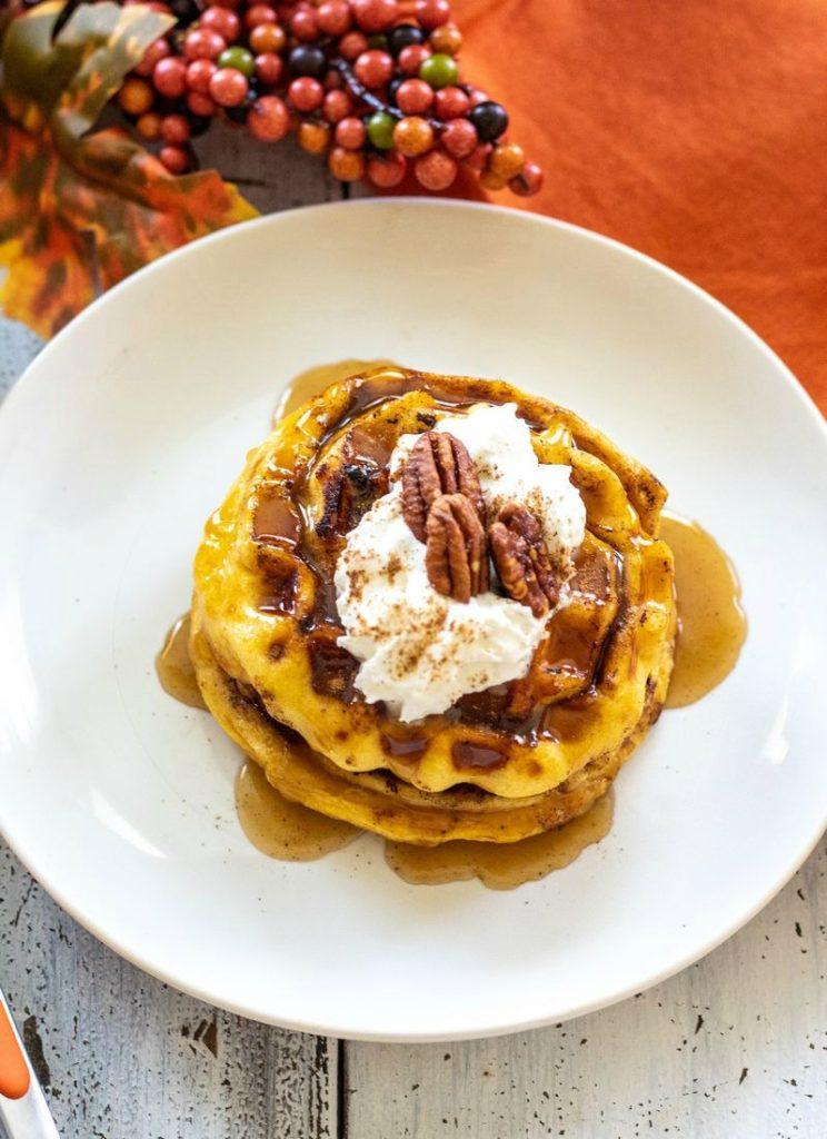 Pumpkin Spice Cinnamon Rolls Waffles
