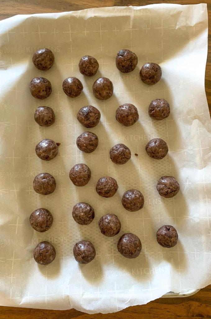 Brownie Truffles with Snowflake Sprinkles