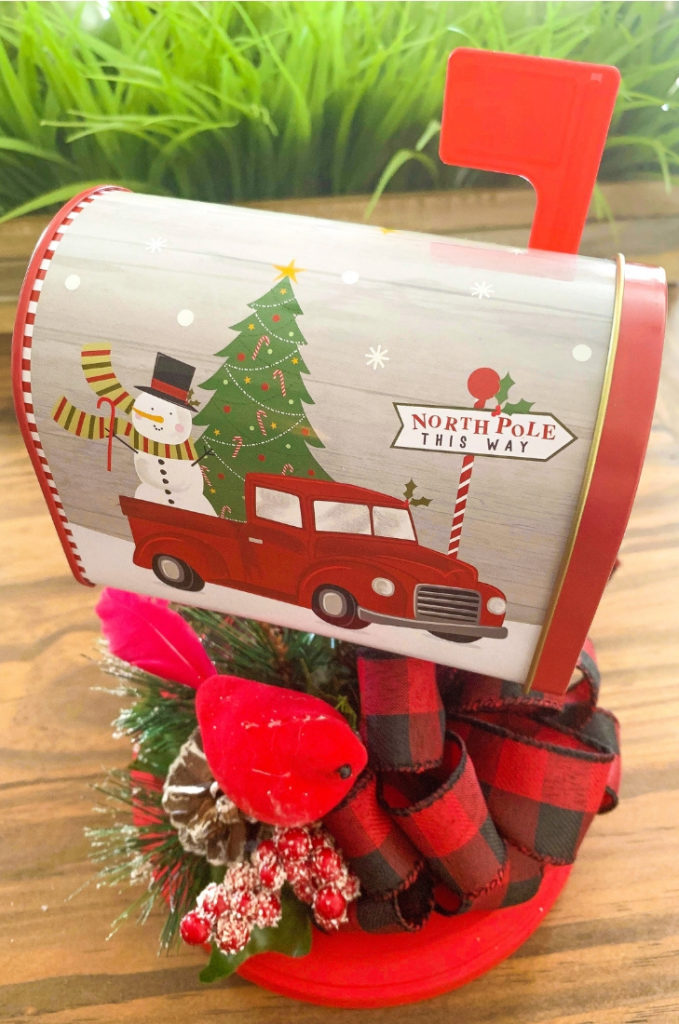 Dollar Tree Christmas Mailbox DIY Decor