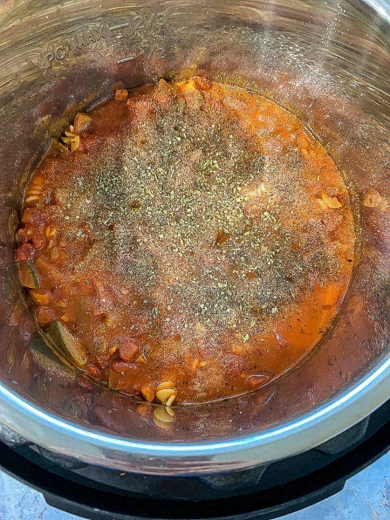 Instant Pot Rotini Pasta and Meatballs Process