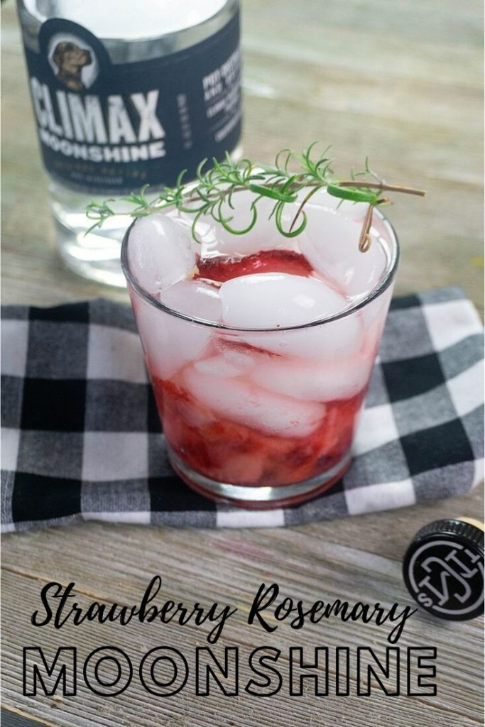 Strawberry Rosemary Moonshine pin for Pinterest