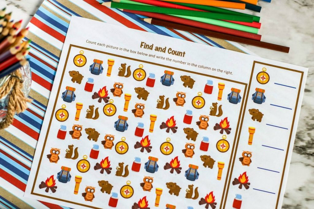 Kids I Spy Camping Printable Activity Page with Colored Pencils