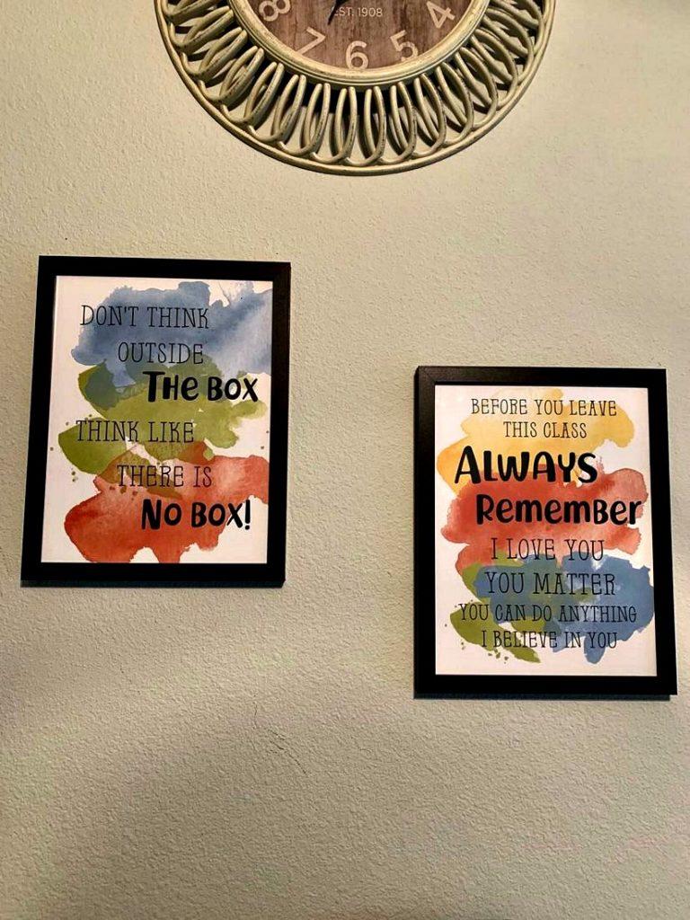 Homeschool Wall Art Printables Hanging On Wall